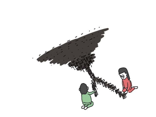 ドミノ倒しの絵