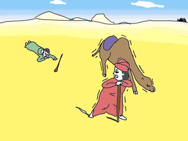 マルコポーロの旅路 プレイの様子 砂漠で立ち往生
