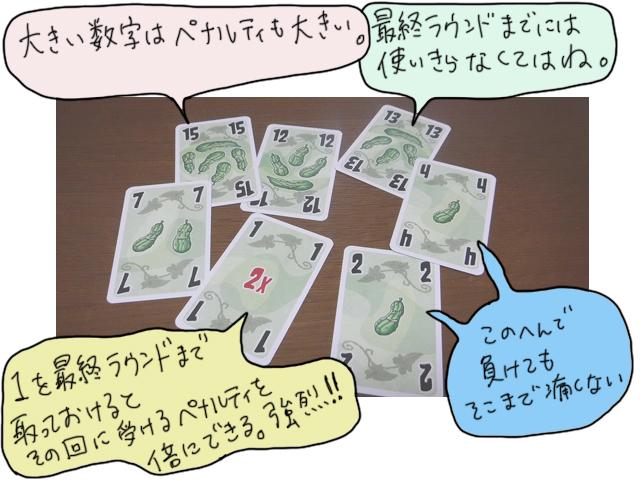 フリードマン・フリーゼのトリックテイキングカードゲーム「5本のキュウリ」ボードゲームレビュー